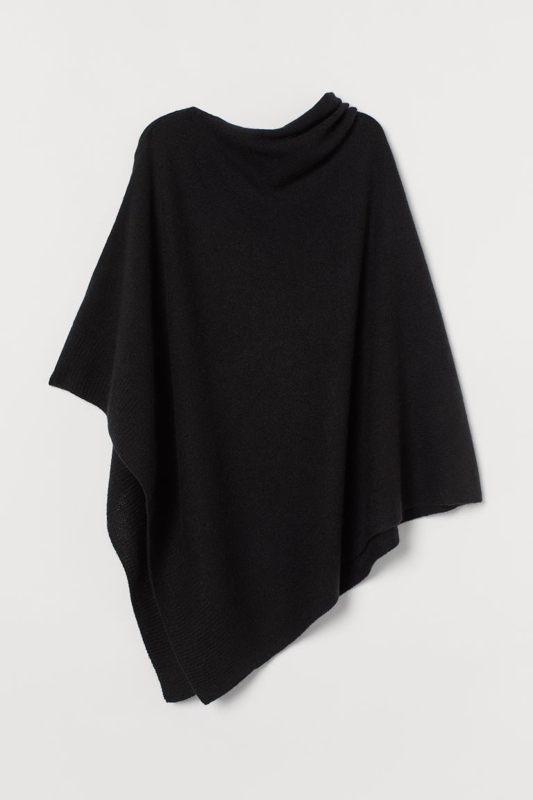 Fine-knit Wool Poncho - Black - Ladies | H&M US