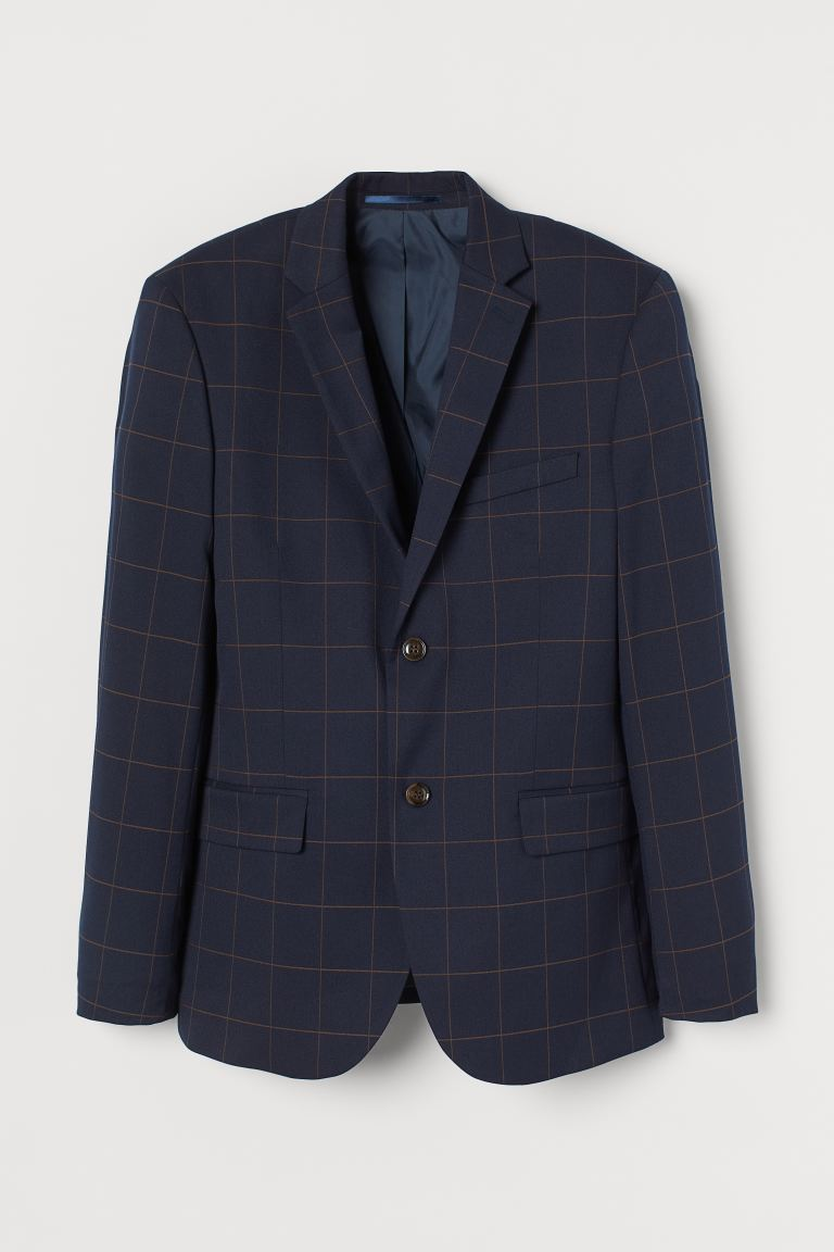 Jacket Slim Fit - Dark blue/Checked - Men | H&M