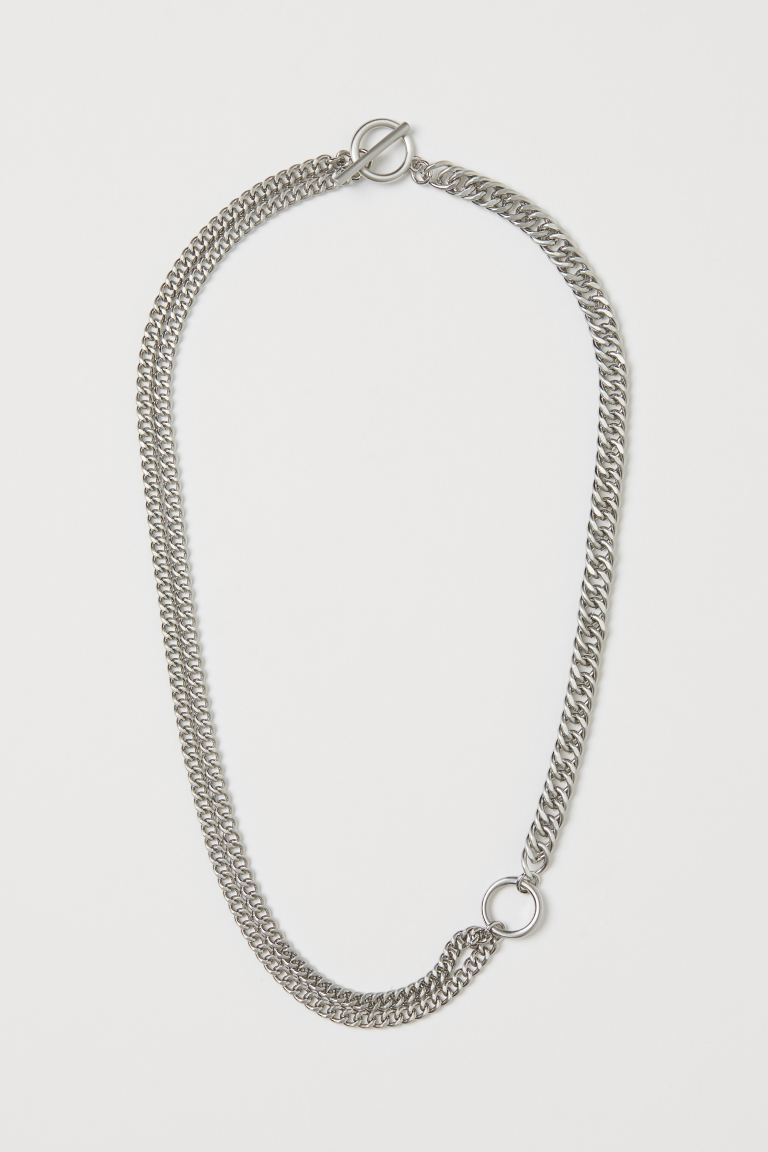 Asymmetric necklace - Silver-coloured - Men | H&M GB