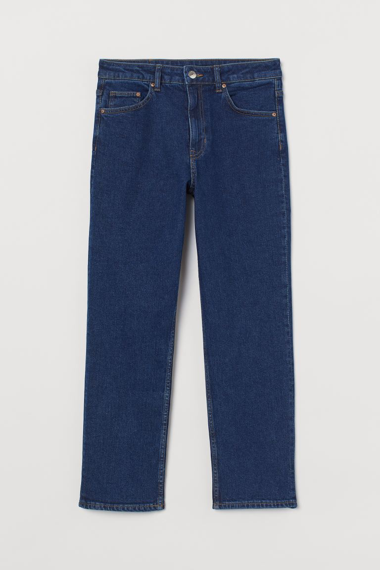 Straight High Ankle Jeans - Dark denim blue - Ladies | H&M US