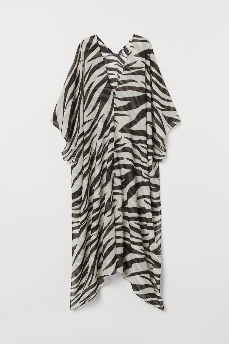 Long Beach Kaftan - White/zebra print - Ladies | H&M US