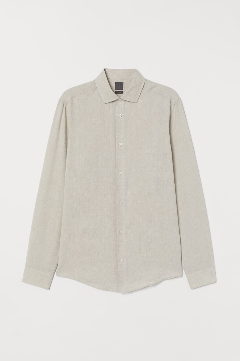 Slim Fit Linen Shirt - Light beige melange - Men | H&M US
