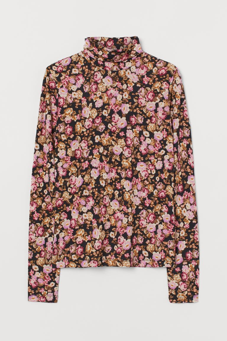 Jersey polo-neck top - Black/Roses - Ladies | H&M GB