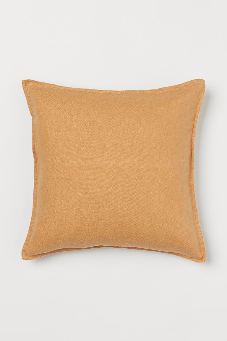 Washed Linen Cushion Cover - Light ocher - Home All | H&M US