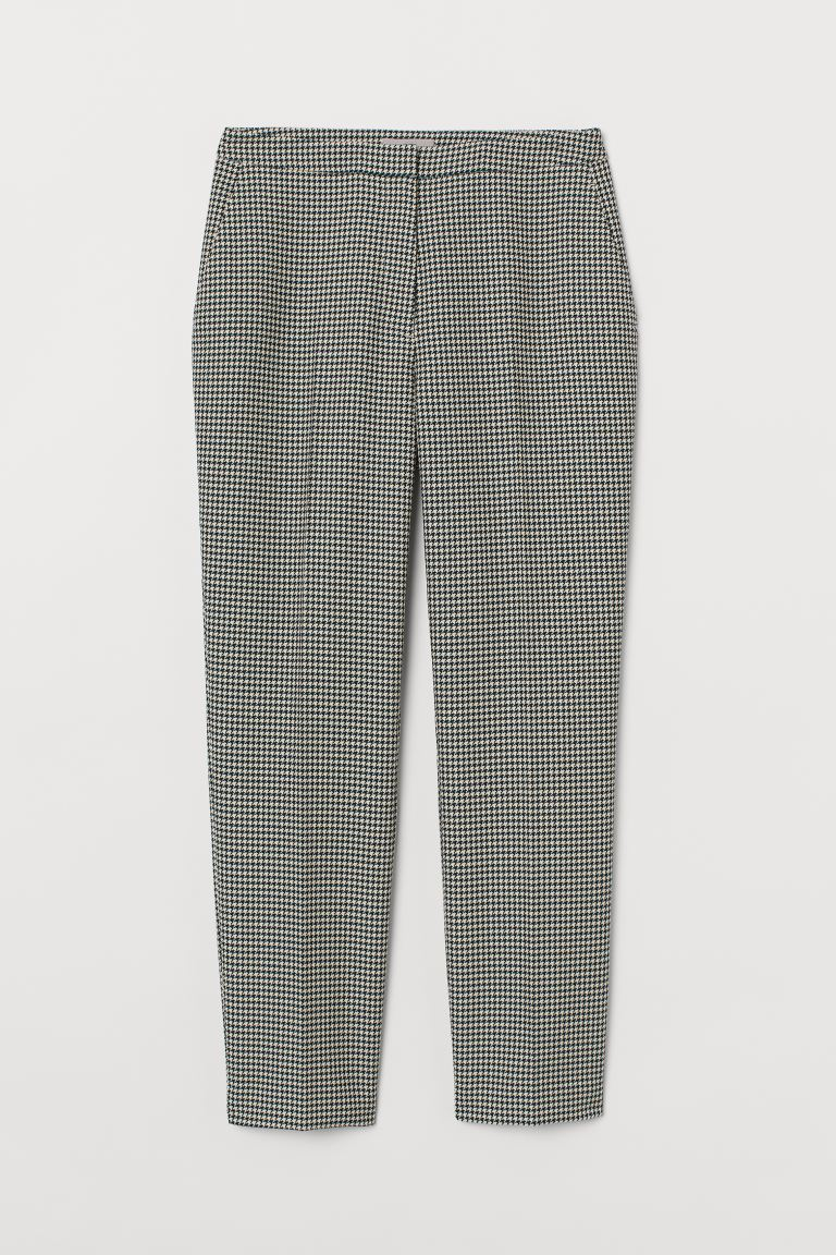 Cigarette trousers - Green/Dogtooth-patterned - Ladies | H&M GB