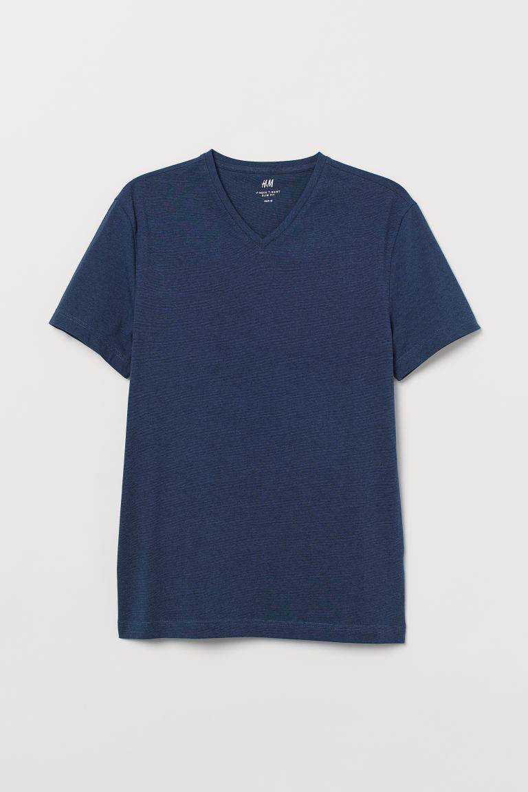 Slim Fit V-neck T-shirt - Dark blue melange - Men | H&M CA