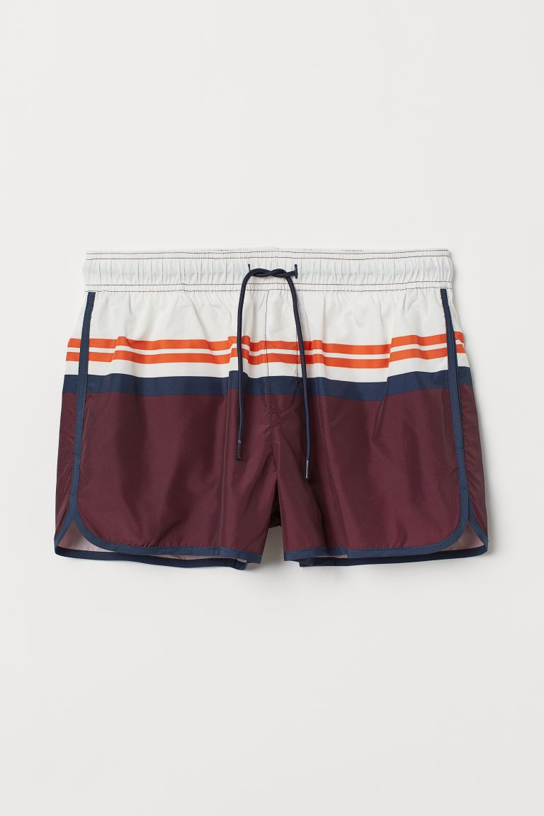 Short de bain court à motif - Bordeaux/color block - HOMME | H&M CH