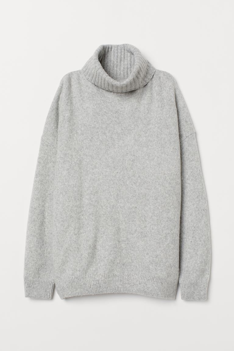 Knitted cowl-neck jumper - Light grey marl - Ladies | H&M IN