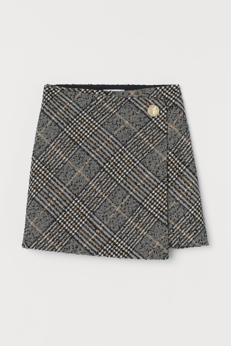 Wrap-front Skirt - Black/houndstooth-patterned - Ladies | H&M US
