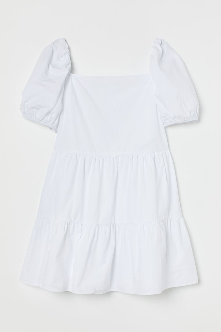 H&M+ Short cotton dress - White - Ladies | H&M GB