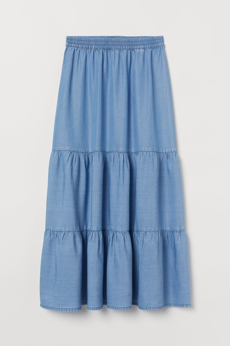 Lyocell Maxi Skirt - Denim blue - Ladies | H&M US
