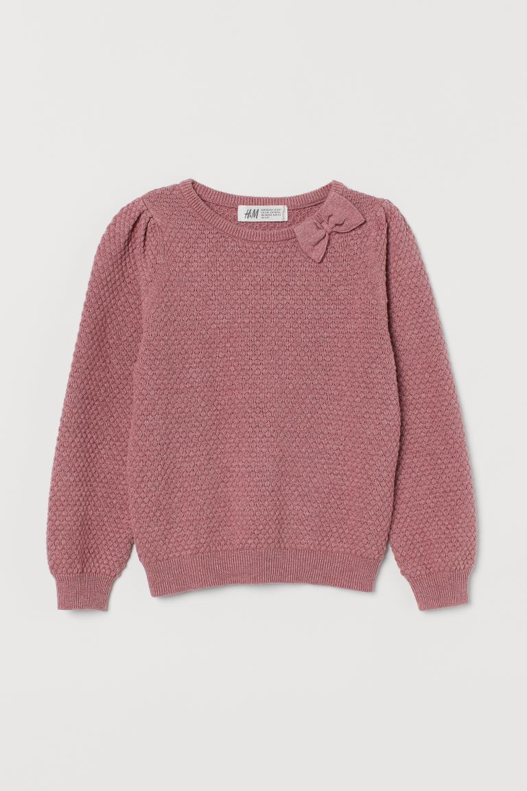 Textured-knit jumper - Old rose - Kids | H&M GB