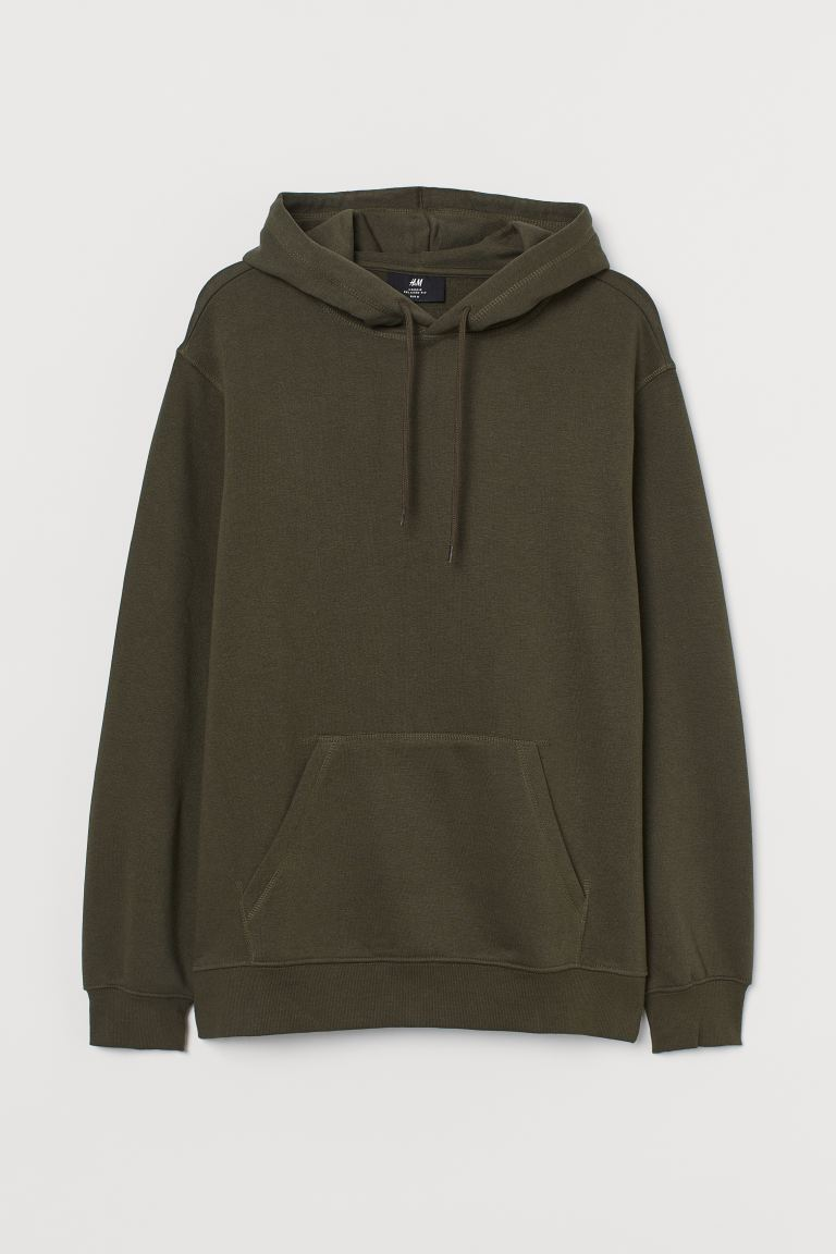 Relaxed Fit Hoodie - Khaki green - Men | H&M