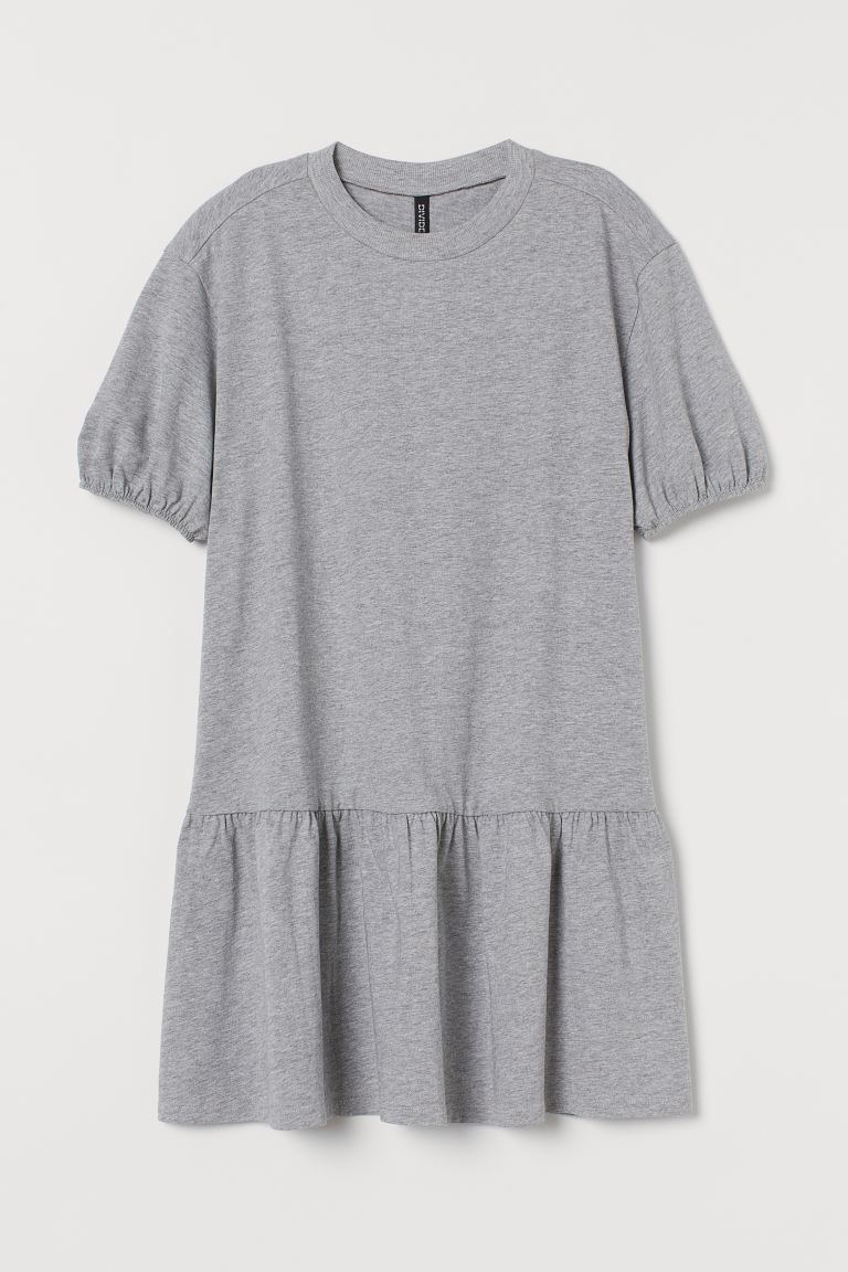 Puff-sleeved jersey dress - Grey marl - Ladies | H&M IN