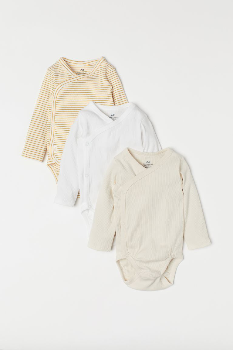 3-pack long-sleeved bodysuits - Mustard yellow/Striped - Kids | H&M