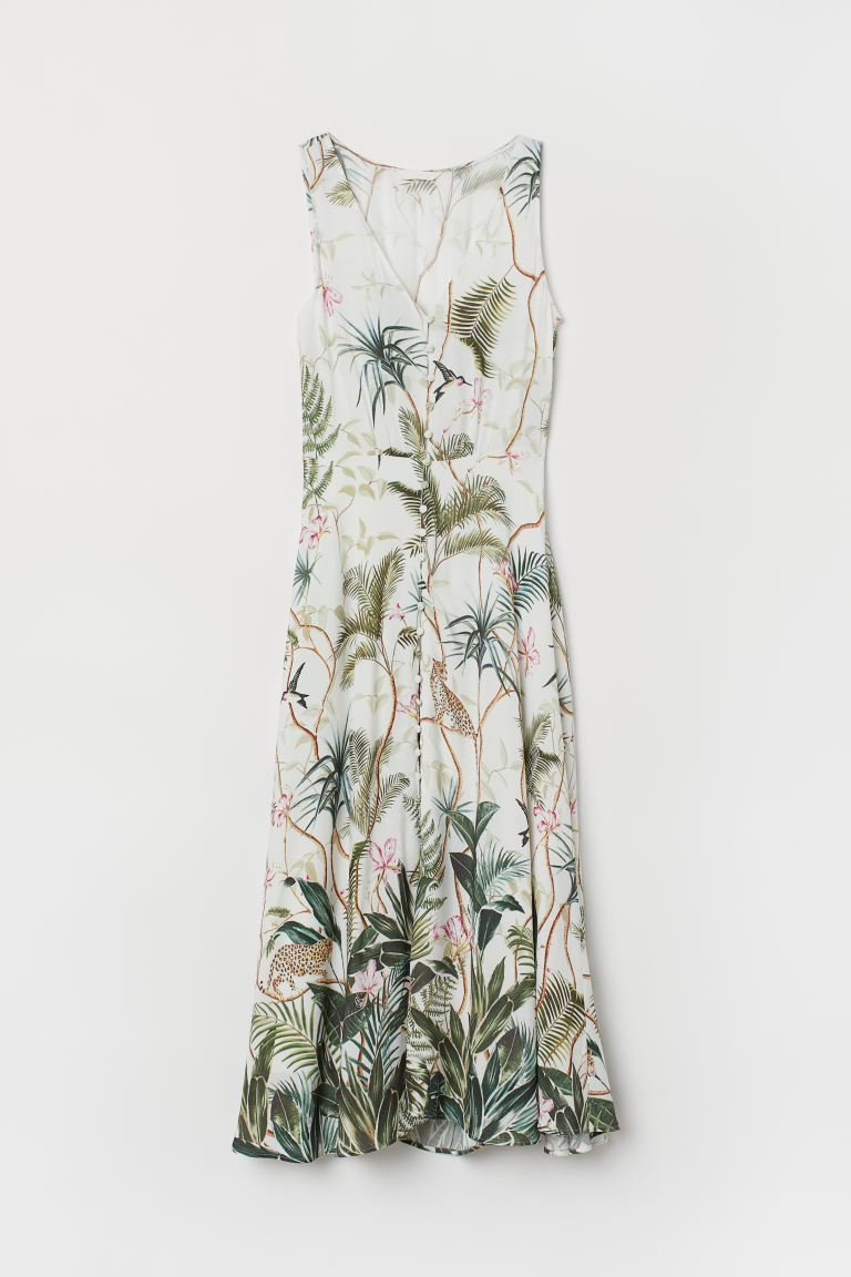 Crêped Dress - Natural white/leaf-patterned - Ladies | H&M US
