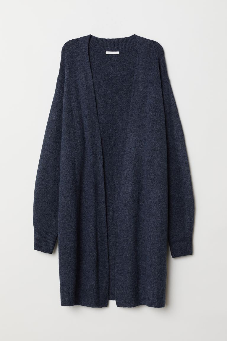 Long Cardigan - Dark blue melange - Ladies | H&M US