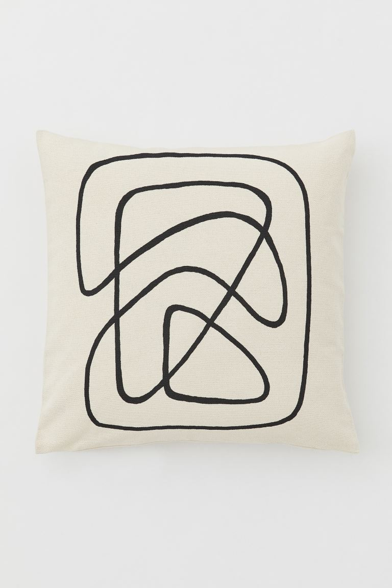 Canvas cushion cover - Light beige/Black - Home All | H&M IE