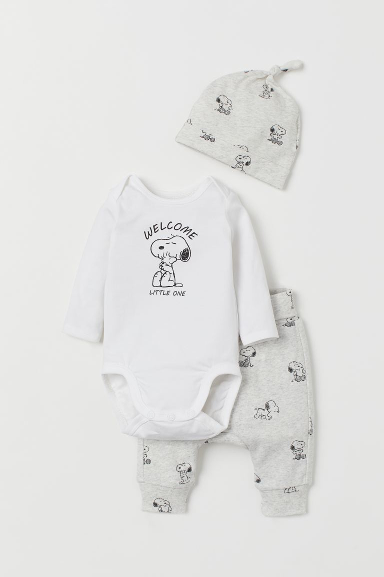 3-piece Jersey Set - Light gray melange/Snoopy - Kids | H&M US
