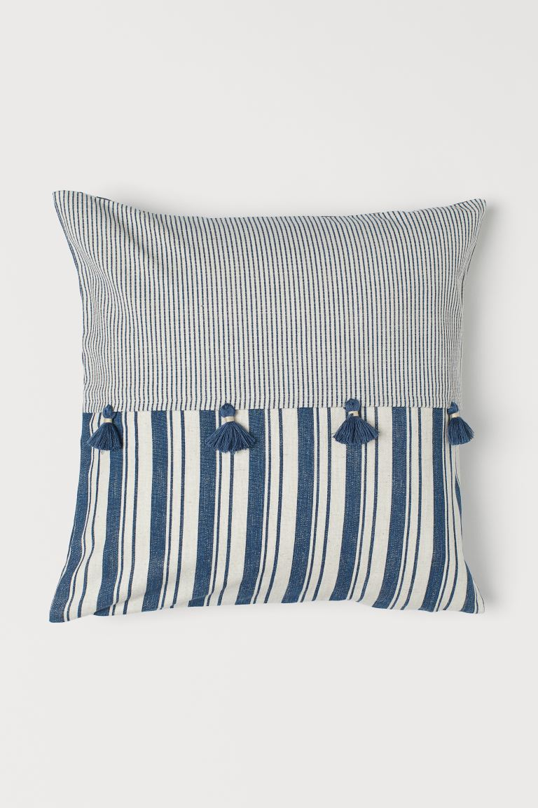 Linen-blend cushion cover - Light beige/Blue striped - Home All | H&M GB