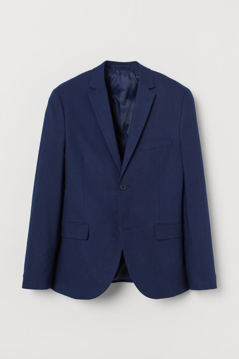 Slim Fit Linen Blazer - Dark blue - Men | H&M US