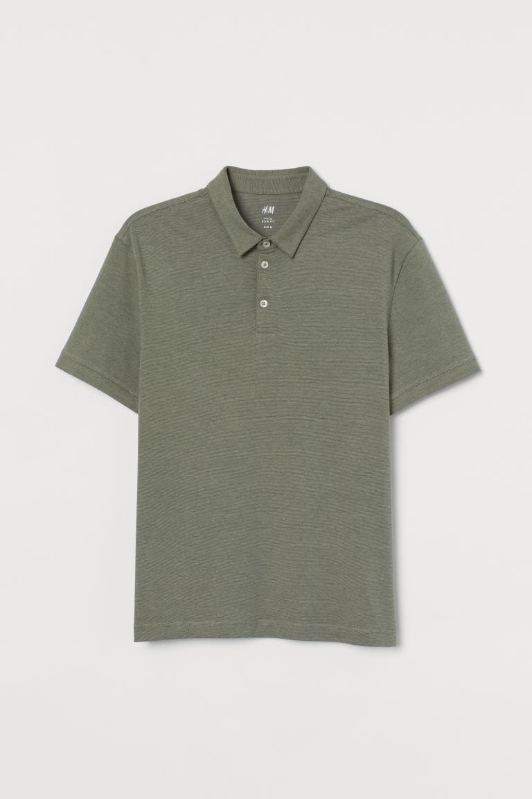 Slim Fit Polo Shirt - Light khaki green - Men | H&M CA