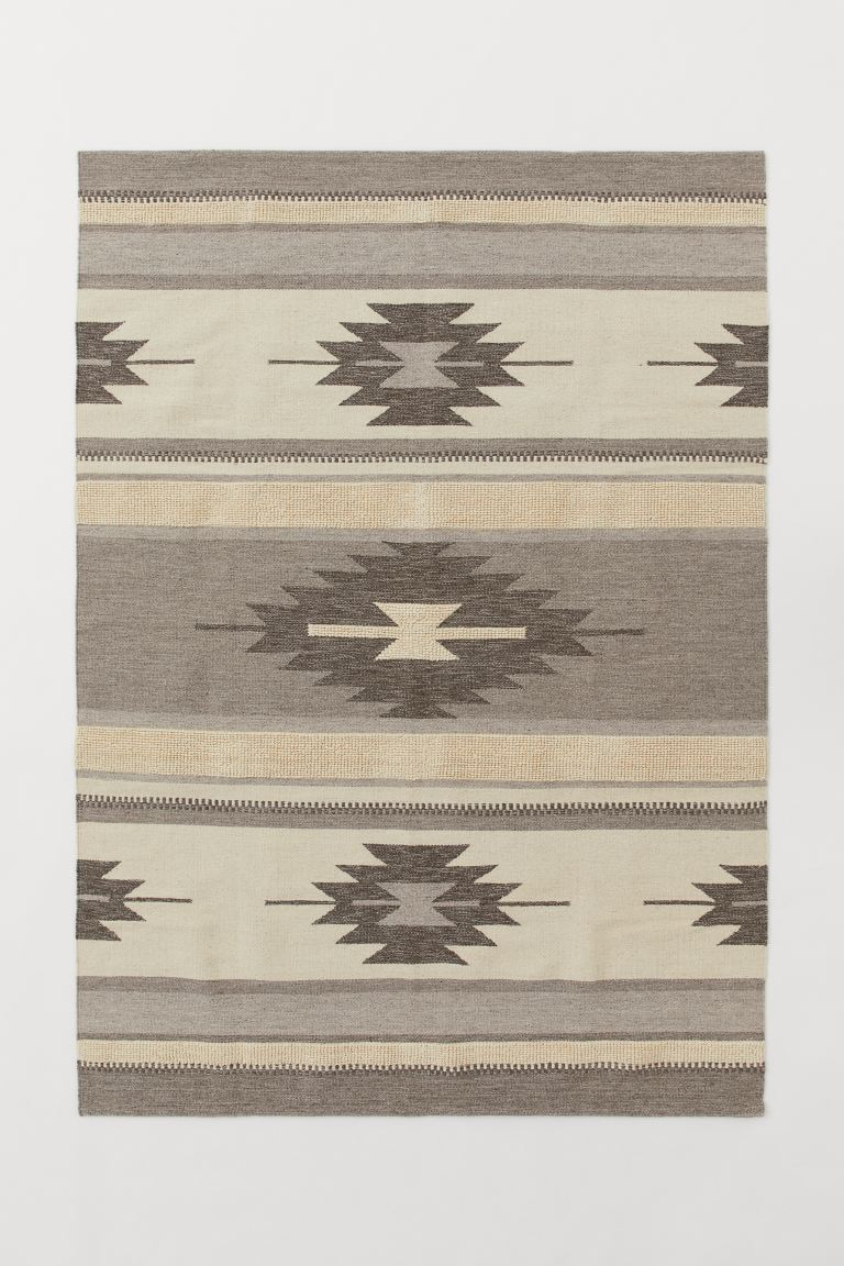 Jacquard-weave wool-blend rug - Greige/Patterned - Home All | H&M GB