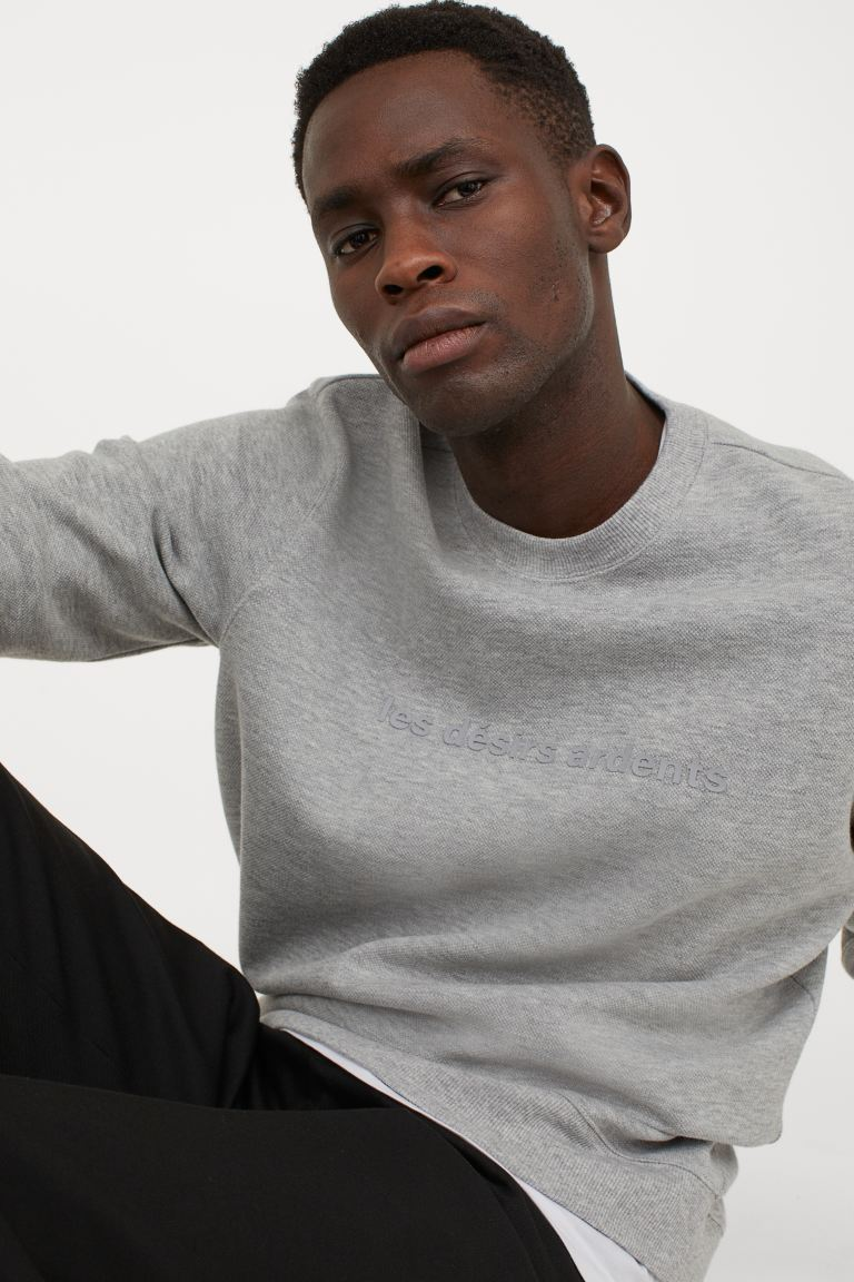 Text-motif sweatshirt - Grey marl - Men | H&M