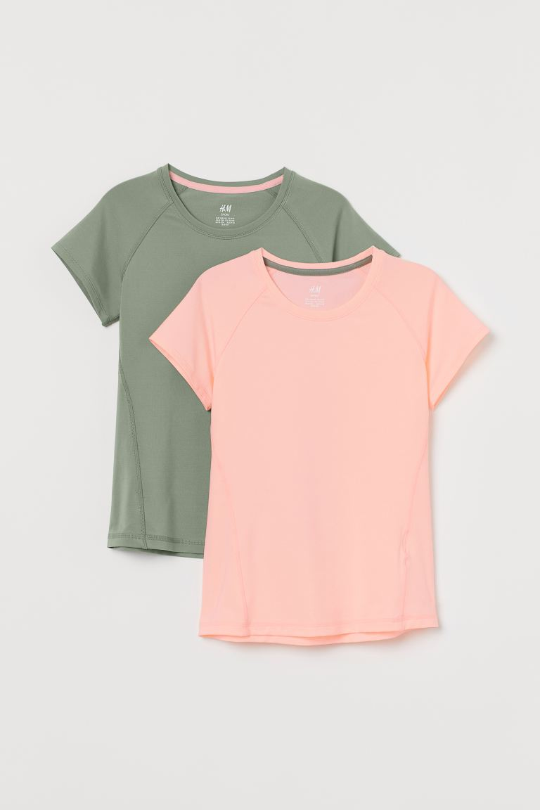Lot de 2 tops training - Rose corail/vert kaki - ENFANT | H&M FR