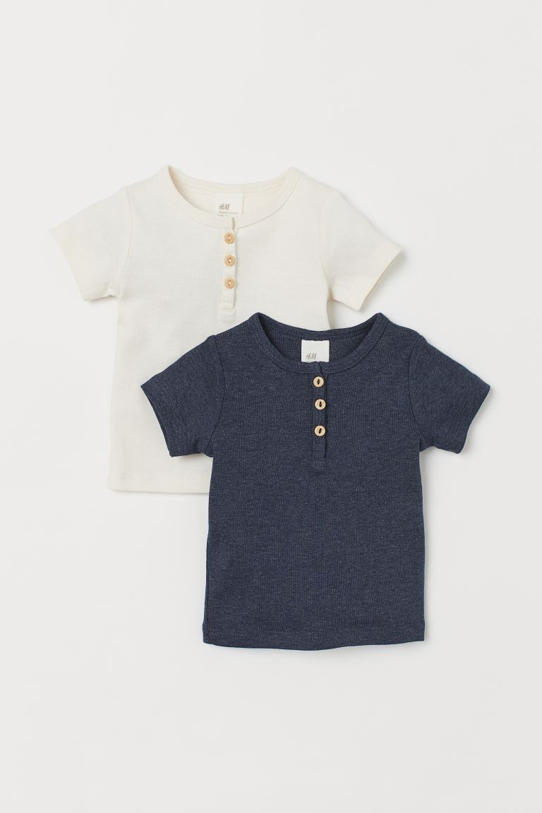 2-pack Cotton T-shirts - Natural white/dark blue - Kids | H&M US
