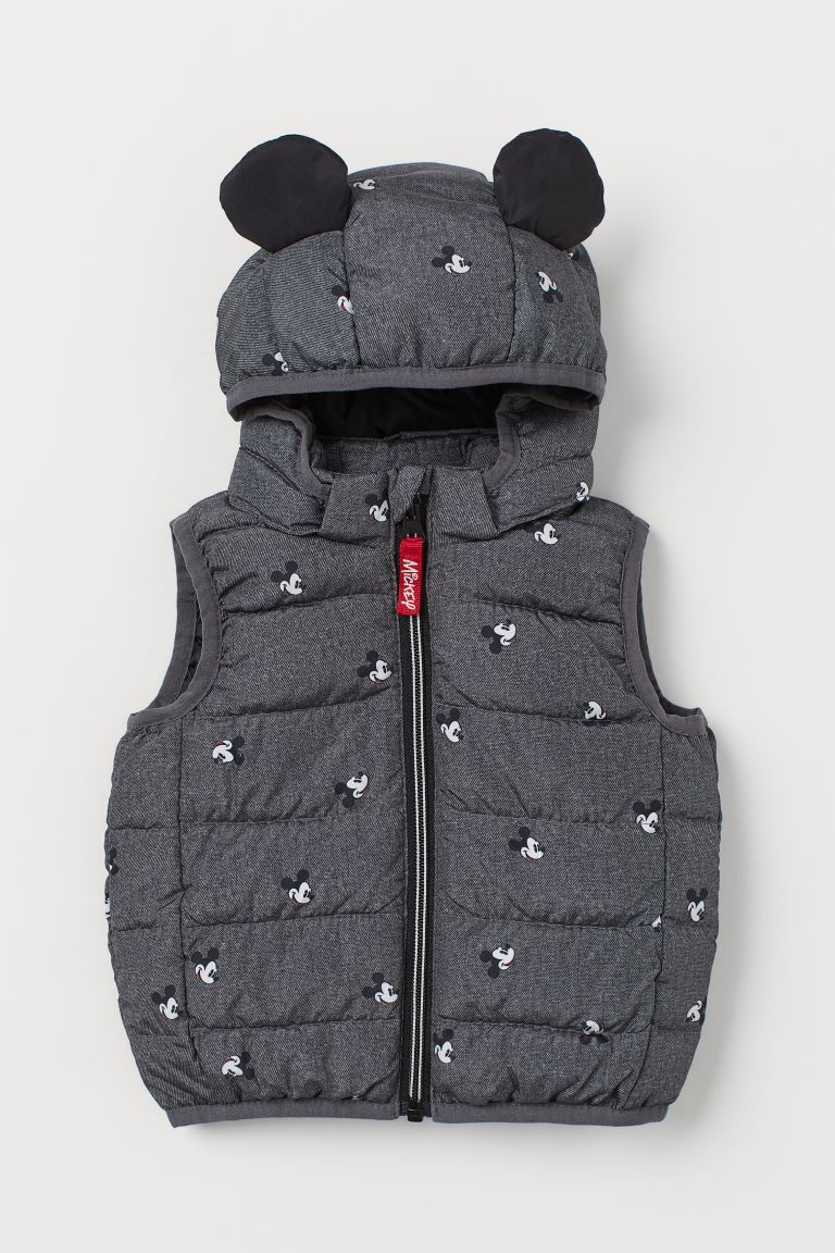 Padded Hooded Vest - Dark gray melange/Mickey Mouse - Kids | H&M US