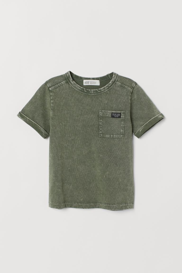 T-shirt with Chest Pocket - Khaki green - Kids | H&M US