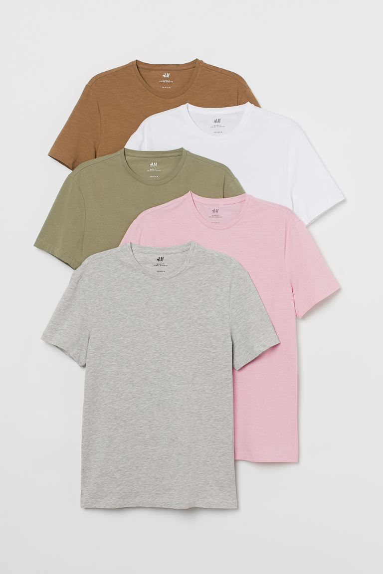 5-pack T-shirts Slim Fit - Grey marl/Pink - Men | H&M IN