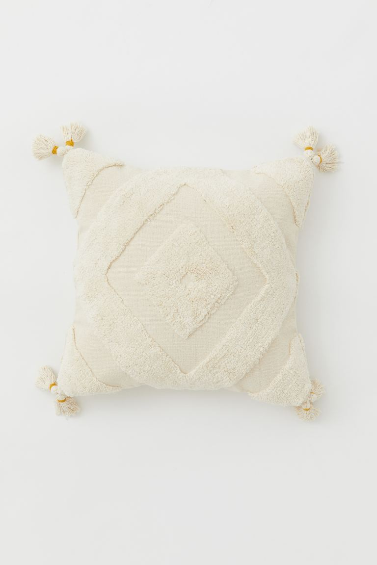 Cushion cover with tassels - Light beige/Yellow - Home All | H&M GB
