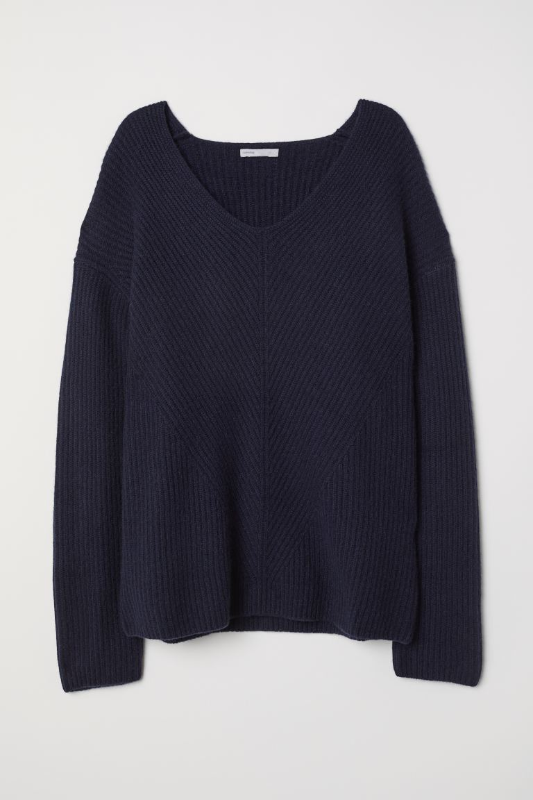 V-neck cashmere jumper - Dark blue - Ladies | H&M IN