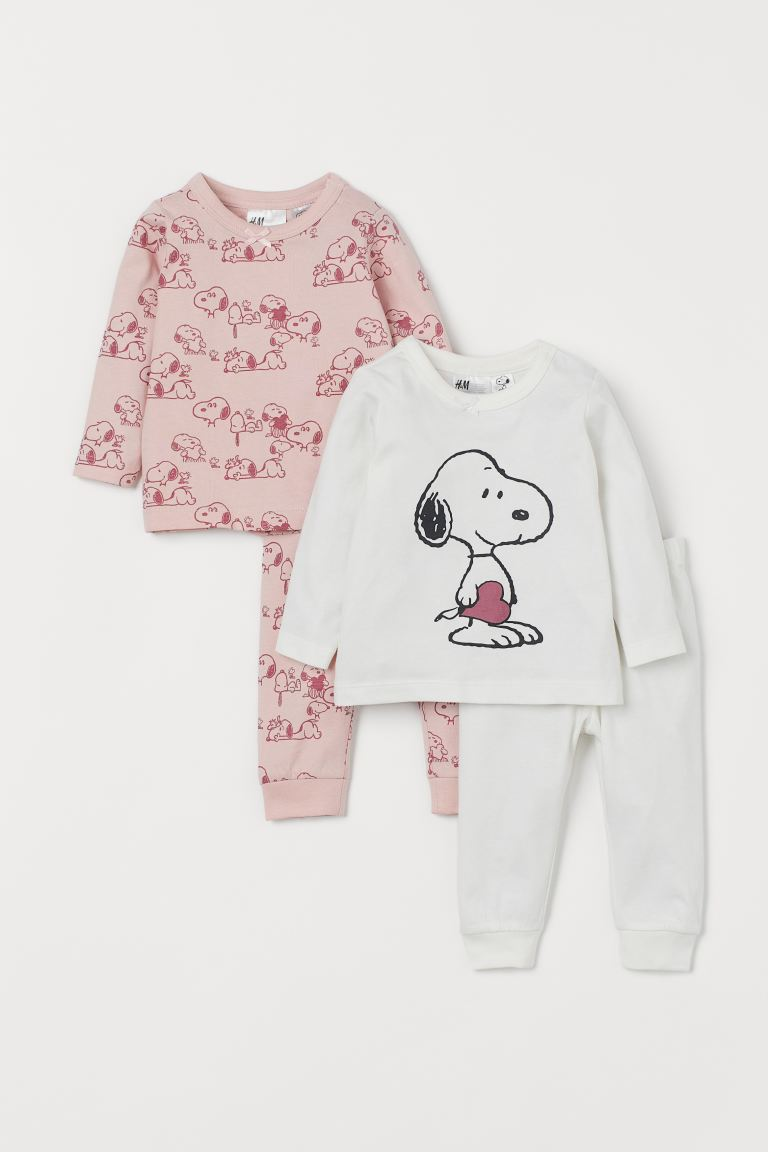 2-pack jersey pyjamas - Light pink/Snoopy - Kids | H&M IN