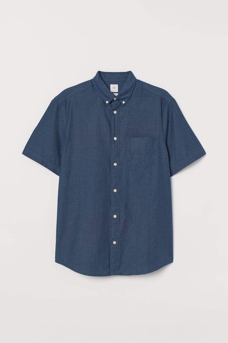 Regular Fit Cotton Shirt - Dark blue - Men | H&M US