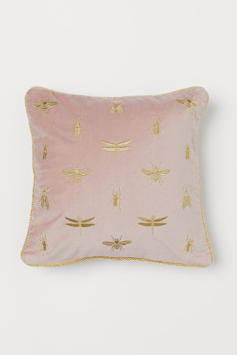 Embroidered Cushion Cover - Dusky pink/insects - Home All | H&M US
