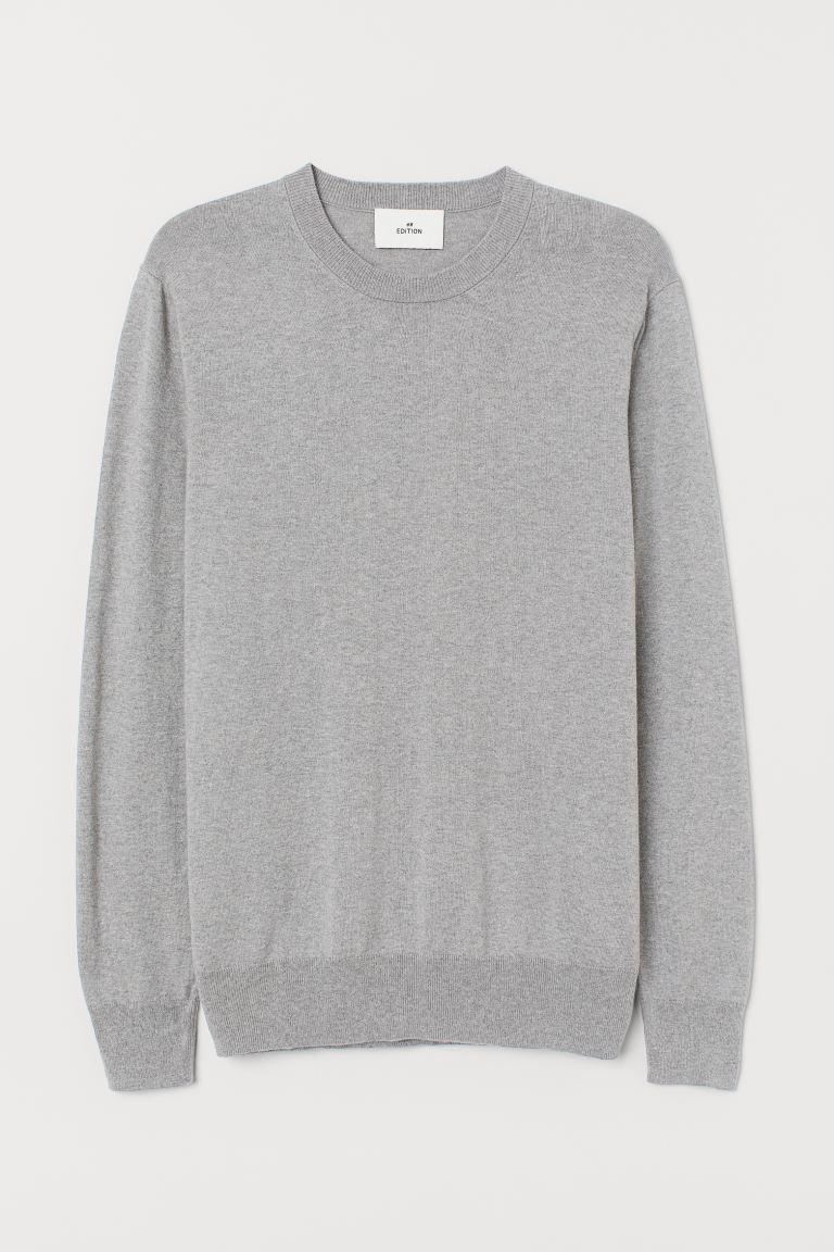 Cashmere-blend jumper - Grey marl - Men | H&M IN