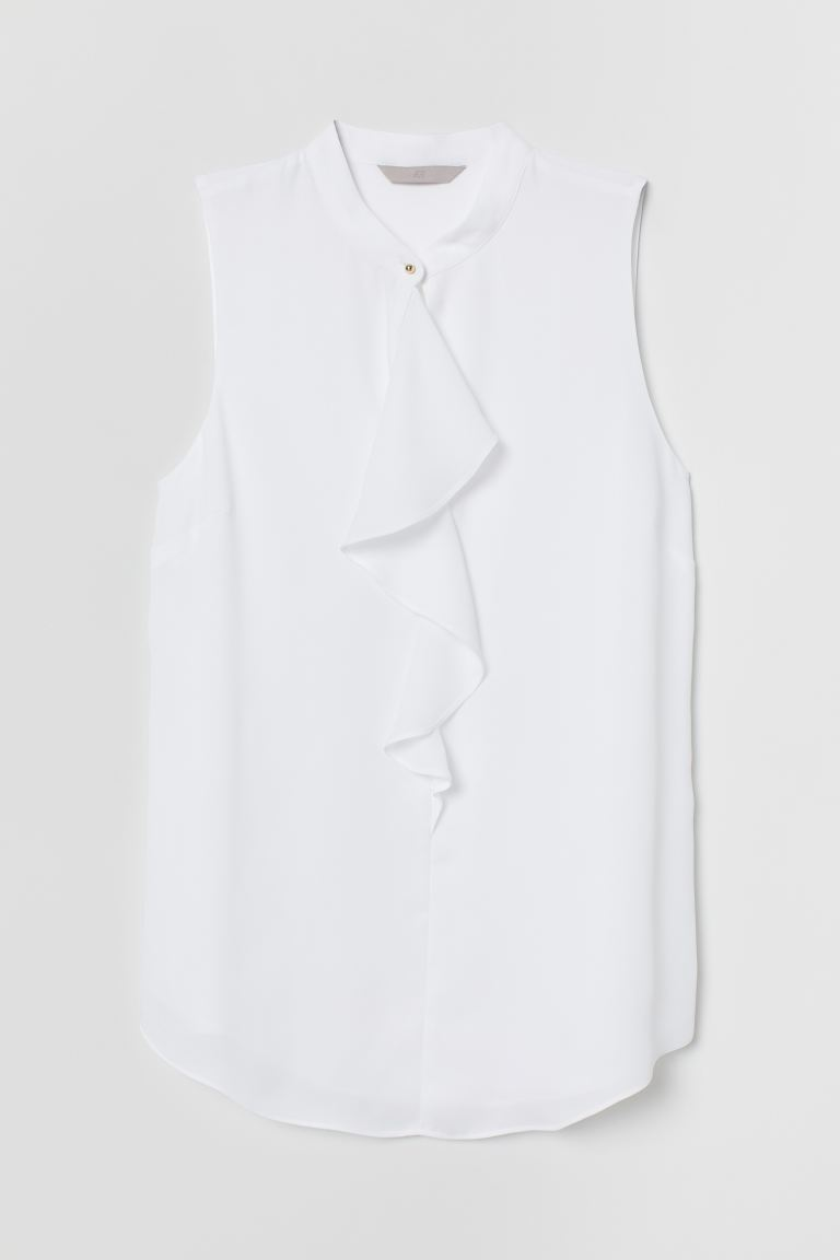 Sleeveless Blouse - White - Ladies | H&M US