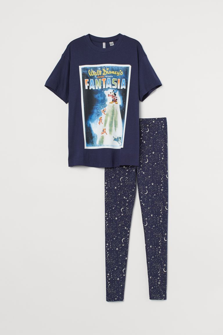 Cotton pyjamas - Dark blue/Fantasia - Ladies | H&M
