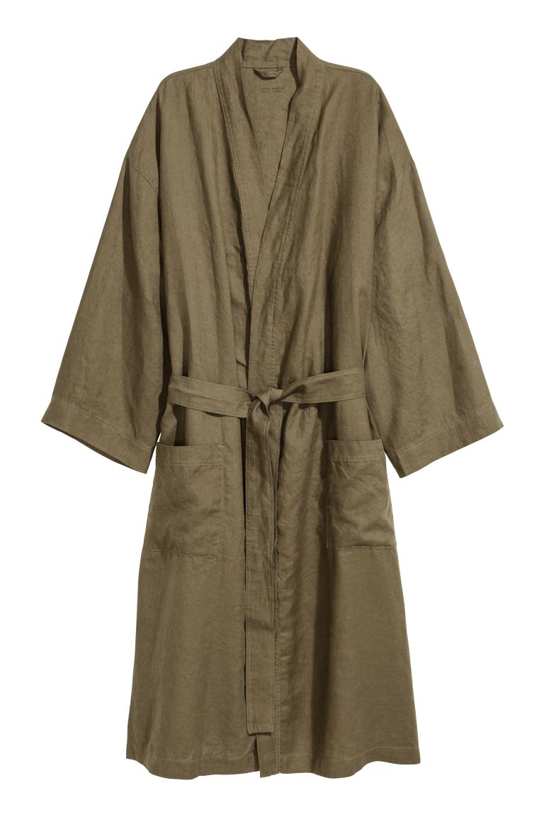Washed linen dressing gown - Green - Home All | H&M GB
