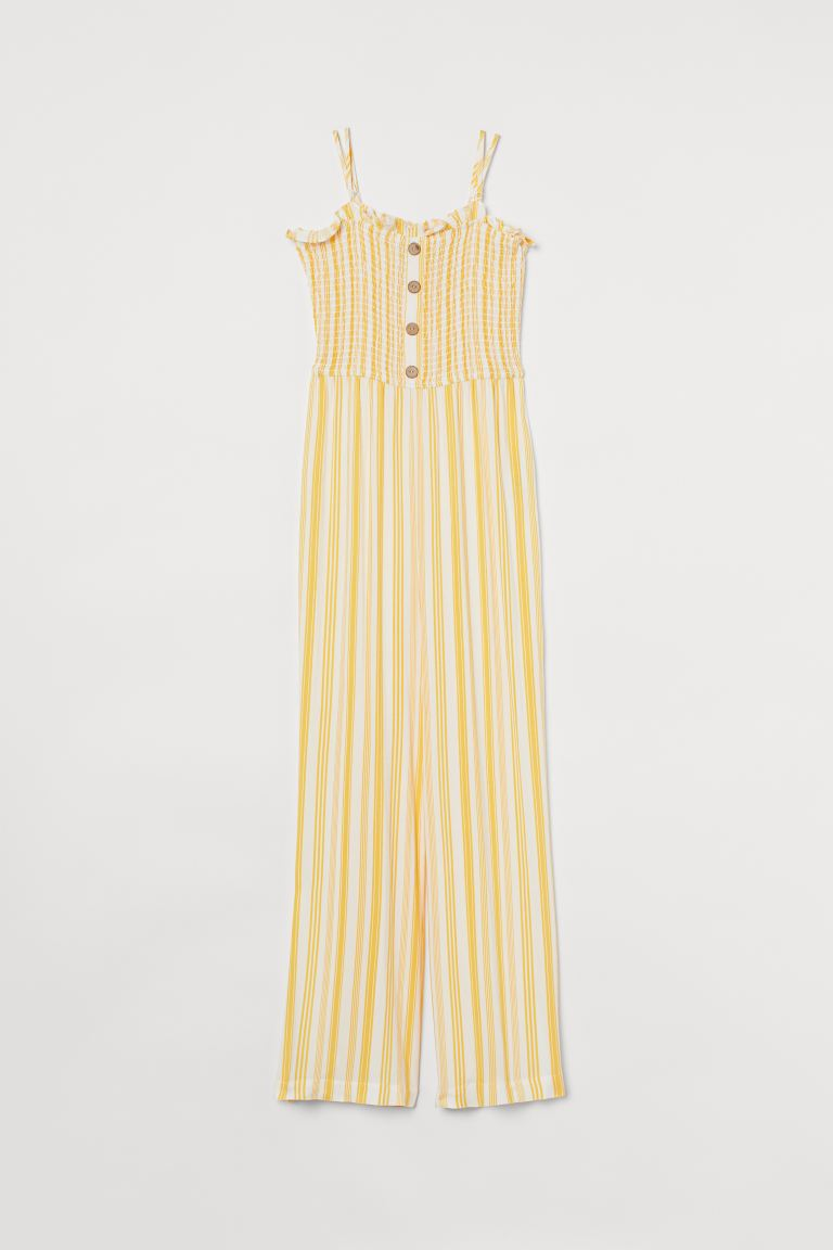 Smocked jumpsuit - Yellow/White striped - Ladies | H&M GB