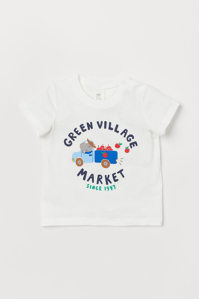 圖案T恤 - 白色/Green Village - Kids | H&M