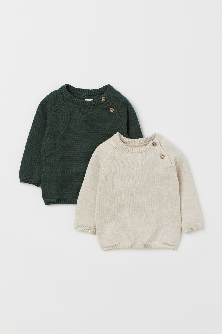 2-pack fine-knit jumpers - Dark green/Natural white - Kids | H&M GB