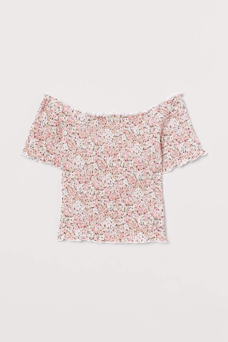 Top a los hombros - Rosa palo/Floreado - Ladies | H&M US