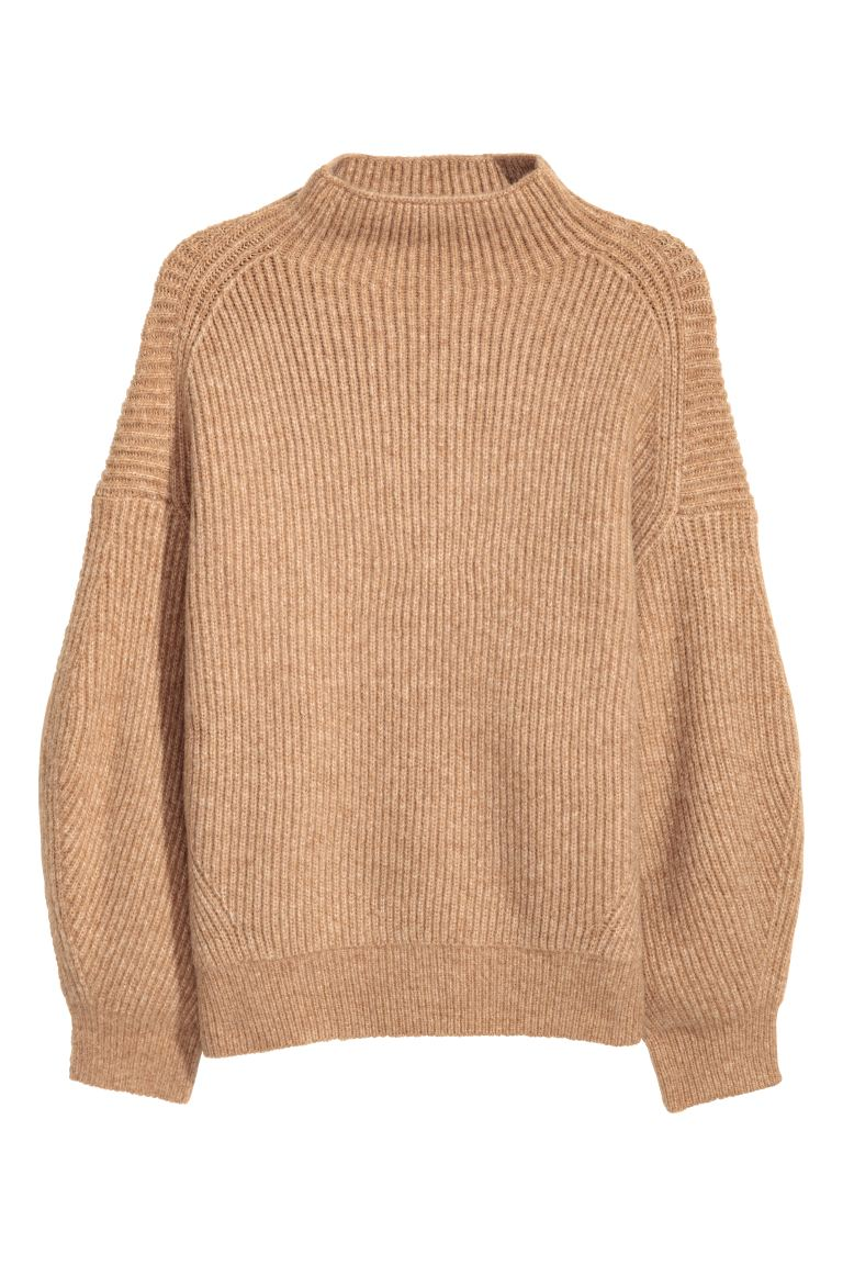 H&M+ Ribbed jumper - Beige marl - Ladies | H&M GB