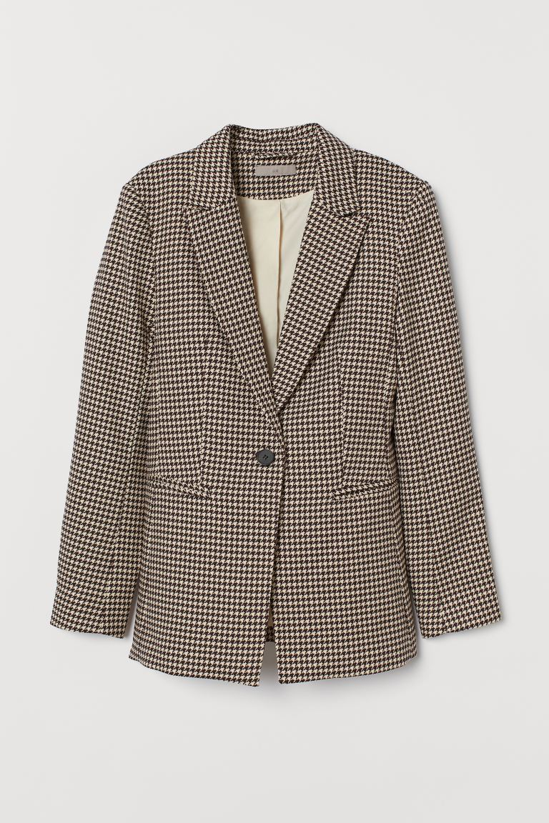 Single-breasted jacket - Burgundy/Dogtooth-patterned - Ladies | H&M GB