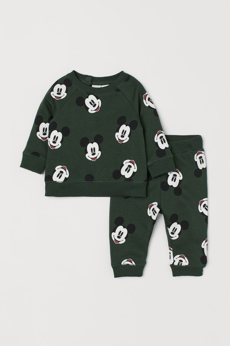 2-piece Set - Dark green/Mickey Mouse - Kids | H&M US