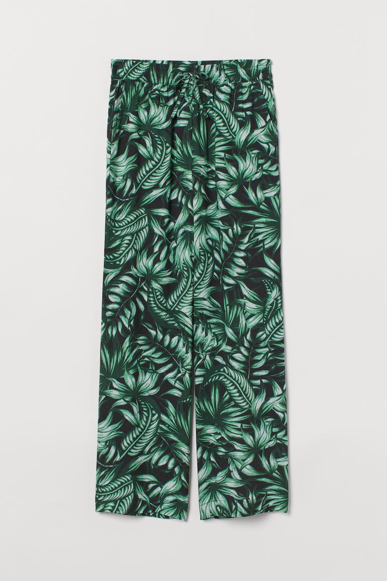 Wide-leg Pull-on Pants - Black/leaf print - Ladies | H&M US